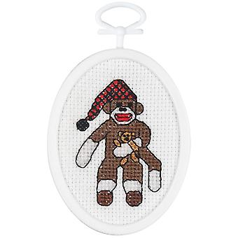 Peejay Sock Monkey Counted Cross Stitch Kit 2 1 4