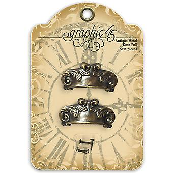 Staples Ornate Metal Door Pulls 2 Pkg Shabby Chic With 4 Brads G4500842