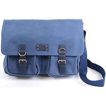 Genuine Canvas Shoulder / Messenger / Work Satchel ( Blue )