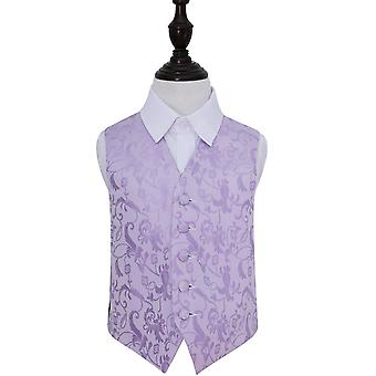 Boy's Lilac Passion Floral Patterned Wedding Waistcoat