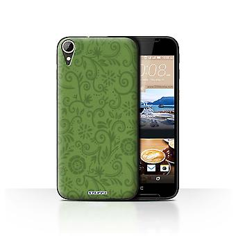 STUFF4 Case/Cover for HTC Desire 830/Green Flower/Floral Swirl Pattern