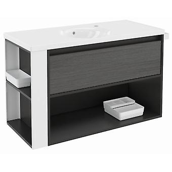 Bath+ Porcelain Sink drawer + Shelf-Front Anthracite Slate-Blanco100Cm