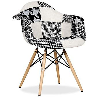 Superstudio Silla Wooden Arms Patchwork -Black & White Pepy Edition-
