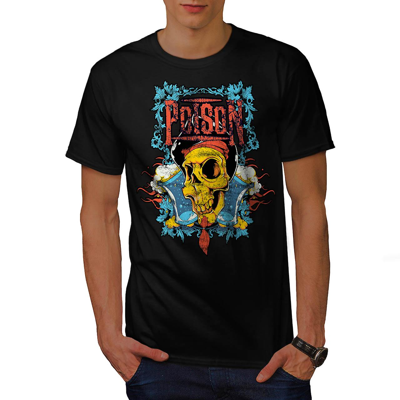 Poison Pirate Skull onda Monster män svart T-shirt | Wellcoda