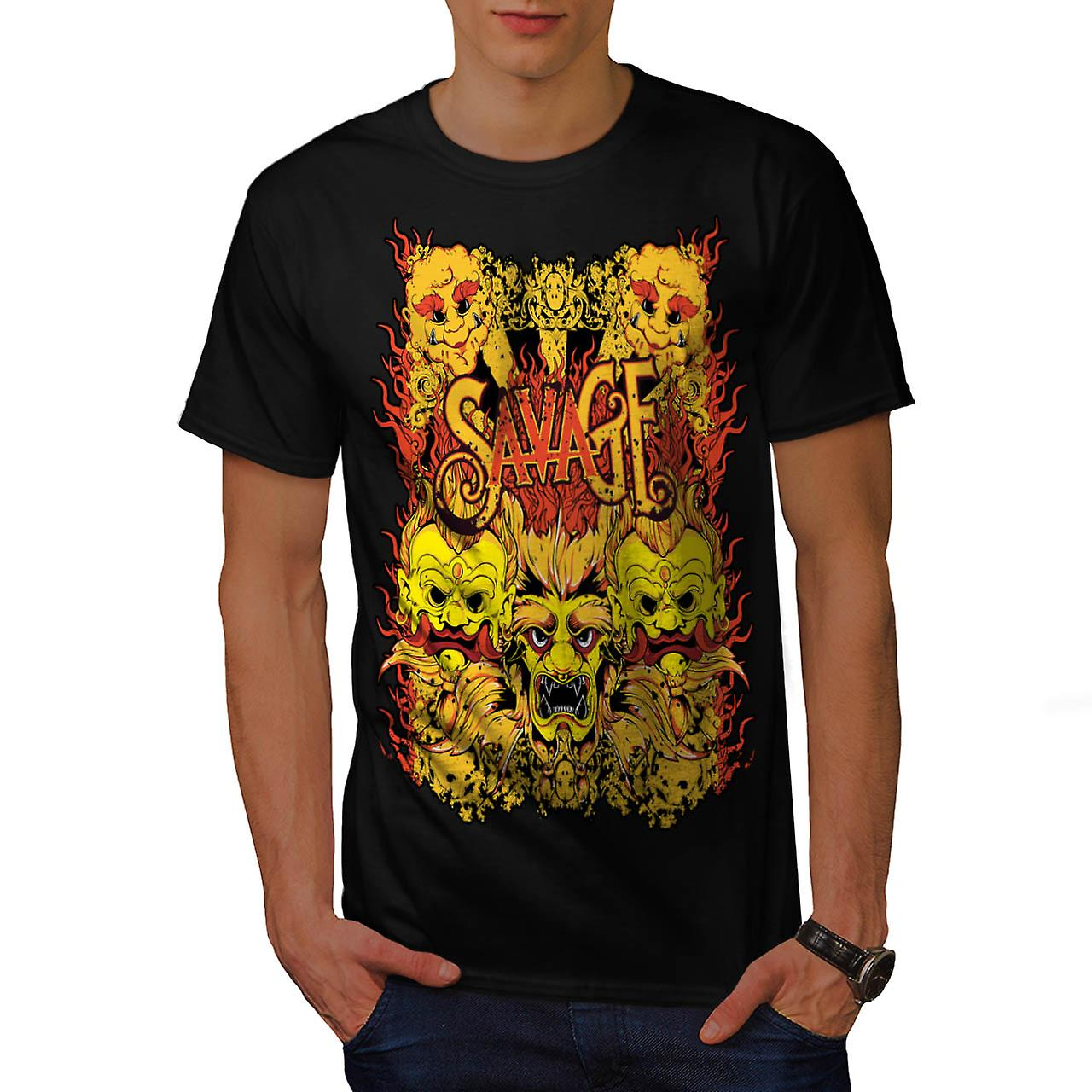 Savage Samurai Mask Asian Parade Men Black T-shirt | Wellcoda