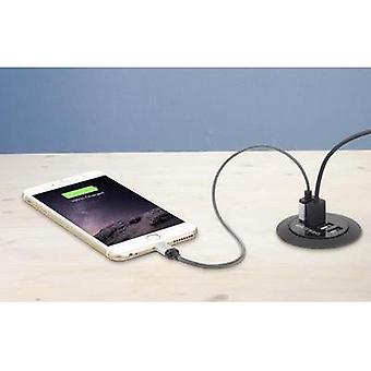 USB charger Mains socket VOLTCRAFT DAPS-4000/4+ Max. output current 6000 mA 4 x USB Furniture fitting