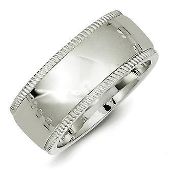 スターリングシルバー 9 mm 慰めの適当 Milgrain バンド リング - 指輪のサイズ: 13.5 4