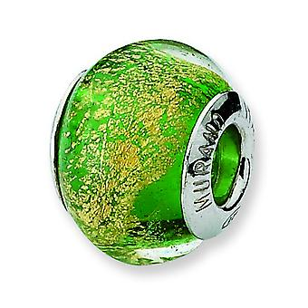 Sterling Silver Polished Antique finish Italian Murano Glass Reflections Green Gold Italian Murano Bead Charm