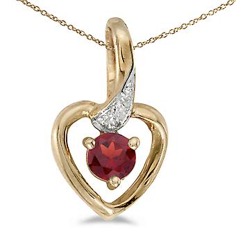 10k Yellow Gold Round Garnet And Diamond Heart Pendant with 18
