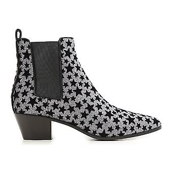 Saint Laurent ankle boots anthracite glitter