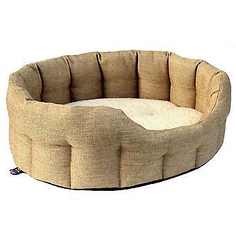 Premium Oval Drop Front Softee Bed Basketweave Beige Size 3 51x41x20cm
