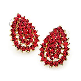 Gold Colour Red Crystal Tear Drop Design 3cm Drop Earring