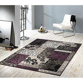 Design velour carpet patchwork look trim purple / grey / beige / black 101181