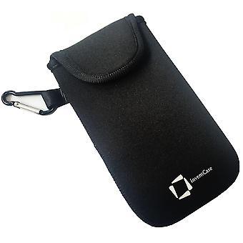 ベルクロの閉鎖と LG F60 - 黒のアルミ製カラビナと InventCase ネオプレン耐衝撃保護ポーチ ケース カバー バッグ