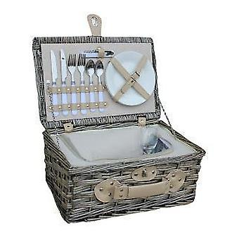 2 Person White Chilled Wicker Fitted Picnic Basket
