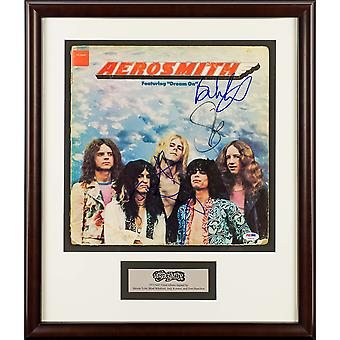Aerosmith - 1976 Debut LP Band Signed Album - Custom Framed with PSA/DNA