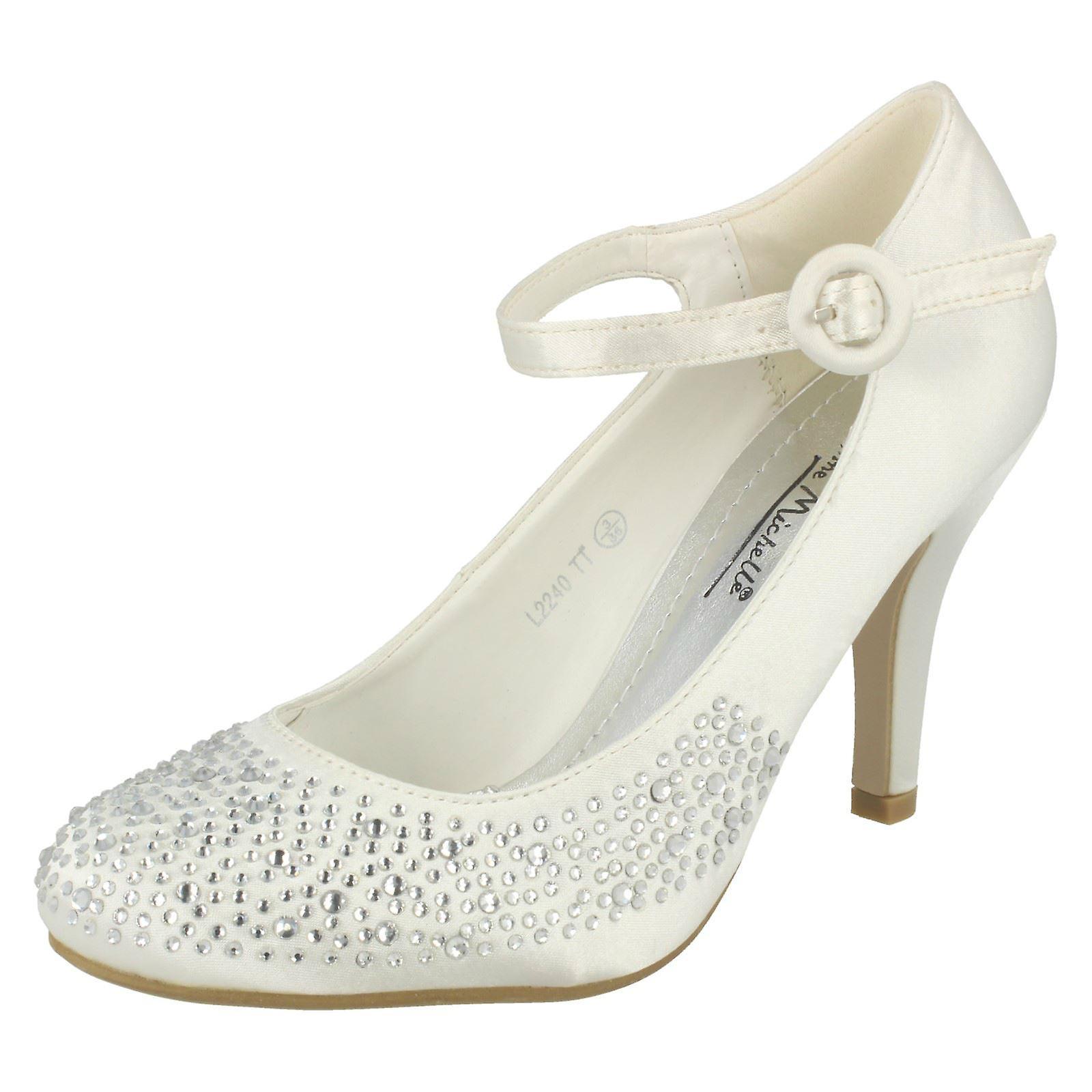 Damen Anne Michelle Absätzen Party Schuh mit Diamante Detail und Knöchel Schnalle befestigen