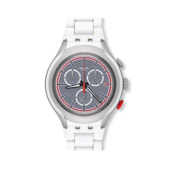 Swatch WHITE ATTACK Aluminium Chronograph Mens Watch YYS4019AG