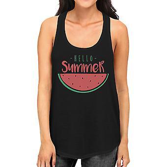 Hello Summer Watermelon Womens Black Graphic Tank Top For Summer