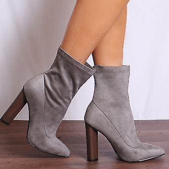 Shoe Closet Grey Sock Boots - Ladies Wham3 Grey Pointed Stretch Sock Pull On Ankle Boots