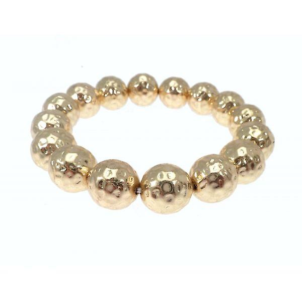 W.A.T Stretchy Gold Style Hammered Ball Bracelet