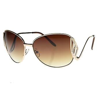 Large  Metal Low Cut-Out Temple Womens Oversized Sunglasses Fashion Eyewear