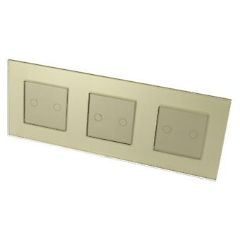 I LumoS Luxury Gold Glass Frame & Gold Insert Touch Dimmer LED Light Switches