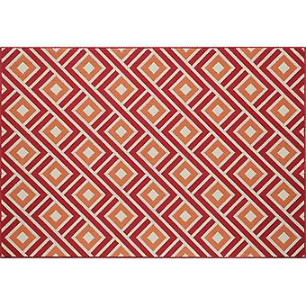 Outdoor carpet for Terrace / balcony red orange white red vitaminic Greca 133 / 190 cm carpet indoor / outdoor - for indoors and outdoors