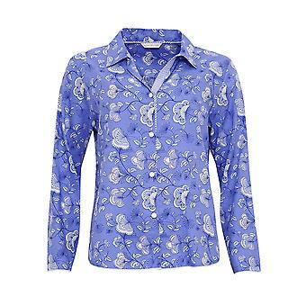 Cyberjammies 3210 Women's Vienna Blue Floral Cotton and Modal Pajama Sleepwear PJs Pyjama Top