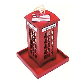 Traditional Red Telephone Box Shape Wooden Bid Feeder Garden Hanging Ornament