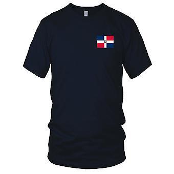 Dominikana Flaga narodowa kraju - haftowane Logo - 100% bawełna T-Shirt Panie T Shirt