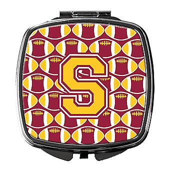 Letter S Football Maroon and Gold Compact Mirror