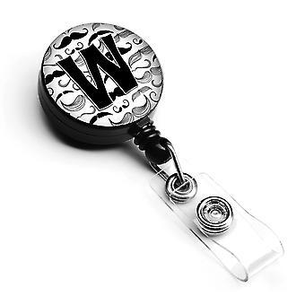 Lettera W baffi iniziale retrattile Badge Reel