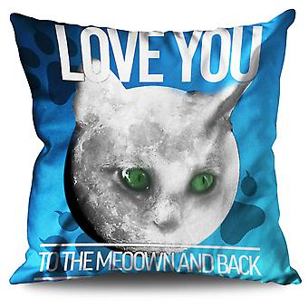 Moon Cute Adorable Cat Linen Cushion Moon Cute Adorable Cat | Wellcoda