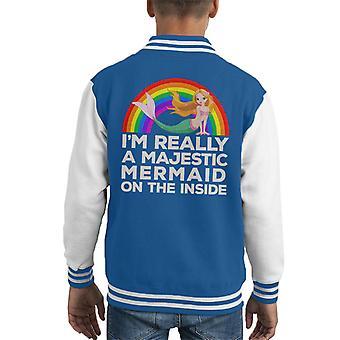 Im Really A Majestic Mermaid On The Inside Kid's Varsity Jacket