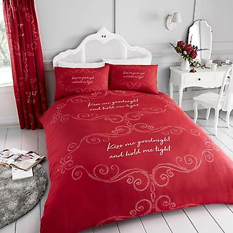 Goodnight Kiss Me Hold Tight 4Pc Duvet Cover fitted sheet Polycotton Bedding Set