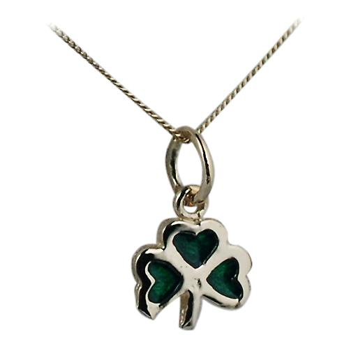 9ct Gold 9x9mm Shamrock with green cold cure enamel Pendant with a curb Chain 16 inches
