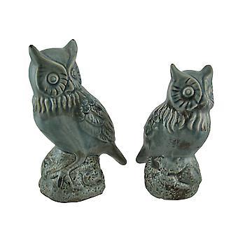 Crackle grigio finitura Set di 2 statue di gufo di ceramica