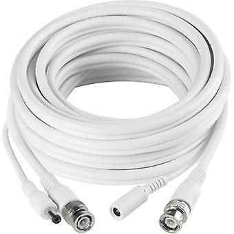 Current, VHS Cable extension [1x BNC plug, DC 5.5 mm socket - 1x BNC plug, DC 5.5 mm plug] 5 m White Sygonix 43150R