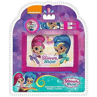 SHIMMER & SHINE WristWatch & Wallet Kids Digital Watch Gift Set Present Idea