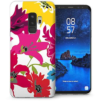 S9 Samsung Galaxy Plus Floral Splash Gel TPU caso – blanco