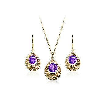Gold and Purple Hollow Teardrop Jewellery Set Drop Earrings and Necklace