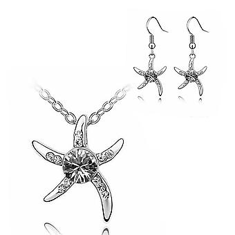 Womens Silver Starfish Necklace and Earring Set