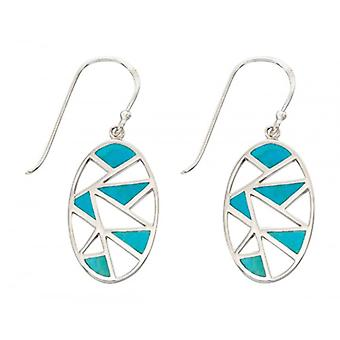 Elements Silver Oval Cut Out Turquoise Inlay Drop Earrings - Silver/Turquoise