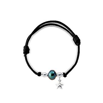 Adjustable bracelet, Tahitian Pearl, Silver 925/1000 star woman and black wax cotton