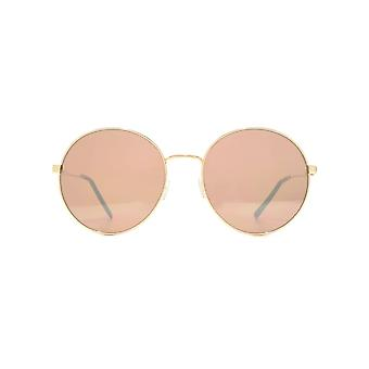 French Connection Oversized Round Metal Sunglasses In Shiny Light Gold