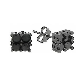 925 Sterling MICRO PAVE Ohrstecker - 4 STONES schwarz