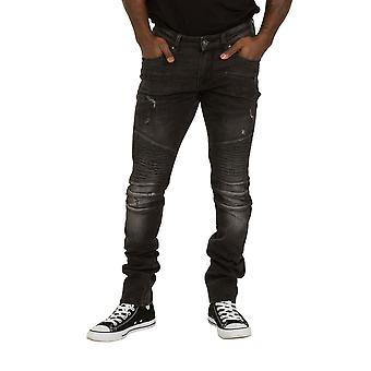 Skinny Fit Mens Biker Jeans - Grey with Abrasions Slim fit Jeans Stretch Pants