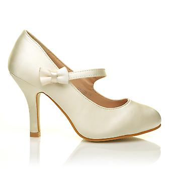 CHARLOTTE Ivory Satin High Heel Bridal Bow Mary Jane Shoes