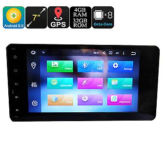 Mitsubishi 2 Din Car Media Player - 7 Inch Display, 4+32GB, Android 8.0, Octa-Core, 3G, 4G, GPS, Bluetooth, Wi-Fi